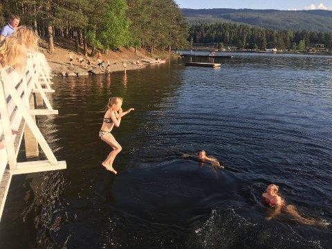 Bading: Mari Ødegård Rye hopper uti Strandefjorden fra brua til Vesleøya, mens søsteren Siri venter i vatnet sammen med Johanna Enger.