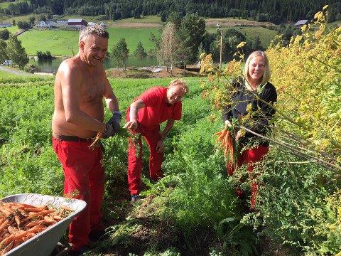 Innhøsting: En fornøyd høstegjeng i kjøkkenhagen. Didrik, Frank og Anne Knutsen.