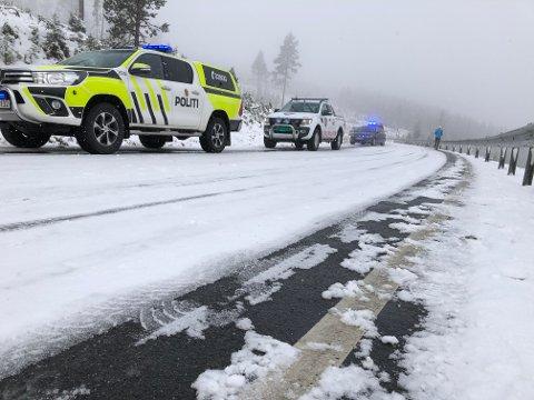 Glatt: Det var svært glatt på stedet der ulykken skjedde, ved Haugrud rett sør for Bløytjern.