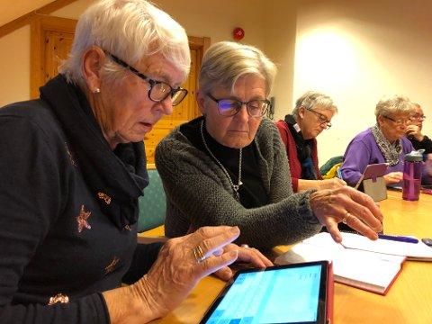Vil være sjølvstendige: Live Robiøle (t.v.) og Ruth Marin Granli har lært masse nytt på nettbrettkurset. De føler med dette at de har blitt mer sjølstendige.