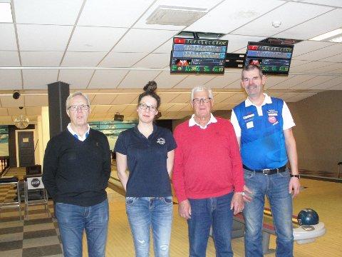 Hekta på bowling: Her ser vi frå venstre Per Lillebråten, som vann medlemsturneringa, drivar av bowlingen, Karolina Bonik, Arne Øygard og Inge Hådem, som vart trear og toar i medlemsturneringa.