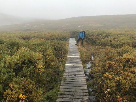Klopper ved Rennefjell som akkurat er reparert.  Her er det kun 1,5 centimeter mellom bordene, viser leder i Valdres friluftsråd Ina Syversen. (Foto: VNK)