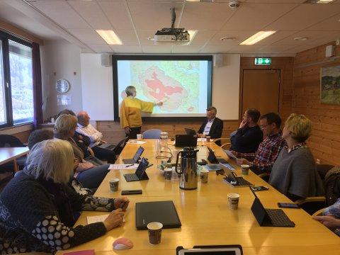 Grunneiere på besøk: Politikerne i formannskapet fikk høre argumentasjonen til Kai Olav Amundsen og Nils Asbjørn Hippe fra Ulnes sameige og utmarkslag angående vern av Stølsvidda torsdag formiddag.