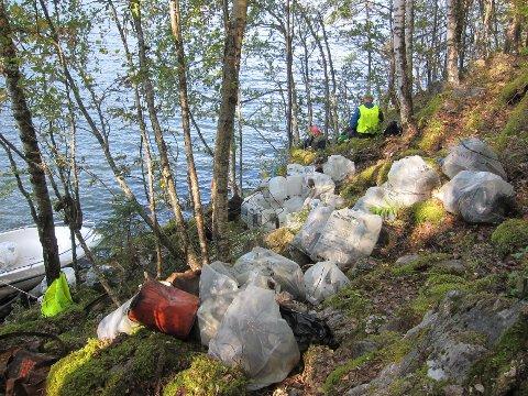 Søppel: Alt søppelet fraktet Naturvernforbundet ut med båt på Begna.