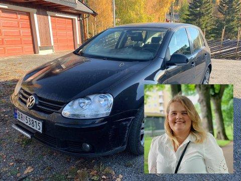 FIKK BILEN SKADET: Bilen til Eline Odden Berg fikk kostbare skader da noen kjørte borti den på parkeringsplassen utenfor Kiwi på Leira. 20-åringen håper den som er ansvarlig melder seg.