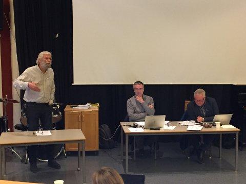 Tale: Ove Skaret i Arbeidarpartiet i sist kommunestyremøte.