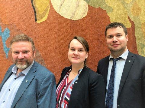Senterparti-trio: F.v. forslagsstillerne Bengt Fasteraune og Marit Knutsdatter Strand, mens leder i næringskomiteen, Geir Pollestad t.h. støtter forslaget fullt ut.