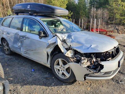 Vrak: Bilen til Stenslette er ikke taksert ennå, men den ble rimelig ramponert.