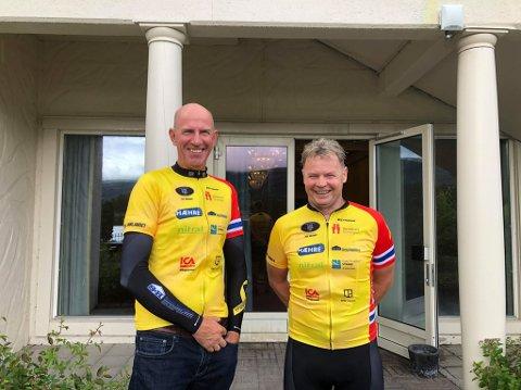 Klare: Kapteinene (f.v) Lars Tvenge og Vidar Hilmen er klare for å sette kurs mot Halden.