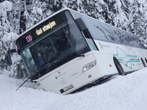 MYK LANDING: En buss med to passasjerer havnet utfor på Fv51 Tisleidalen lørdag ettermiddag. Passasjerene ble fraktet videre med taxi.