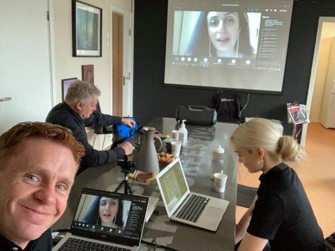 Årsmøtet foregikk digitalt, med Håvard Halvorsen, Kaja Enger og Jan Stundal samlet på Fagernes.
