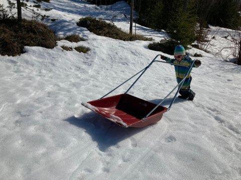 God hjelpar: Midt i april låg snøen tjukk og fast på plenen, våren treng hjelp!