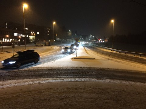 TILNÆRMETNORMALT:Situasjonsbilde fra riksvei 4 utenfor Nittedal rådhus torsdag klokka 07.30.