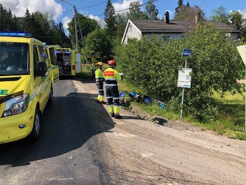 MCIGRØFTA:Fra ulykkesstedet på Slattum.