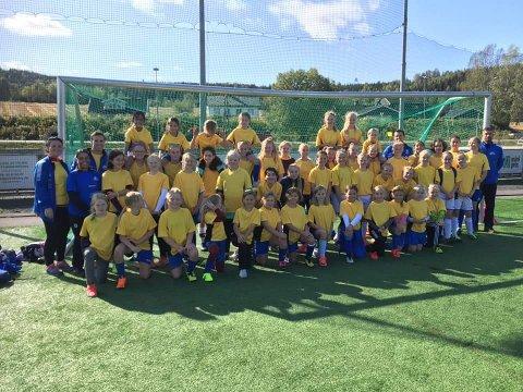 49 jenter fra Hakadal IL og Varpe BK og deres trenere markerte jentefotballens dag på Elvetangen (Foto: privat).