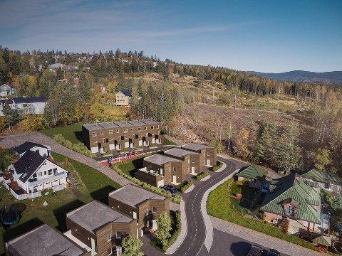 SISTE SALGSTRINN: Det gjenstår å selge ett rekkehus før alle boligene i Skolemestertunet er solgt.