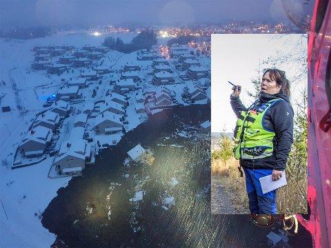 BLE KALT UT: Ifølge NRK har Øst politidistrikt har kalt inn redningsledelse i forbindelse med skredet i Gjerdrum. Hundefører Merete Hauge fra Nittedal er blant hundeførerne som nå står klare til å gjøre søk i området. Bildet av Hauge er fra trening med redningshunder i høst der Hauge var instruktør. Helikopterbildet viser skredområdet på Gjerdrum.