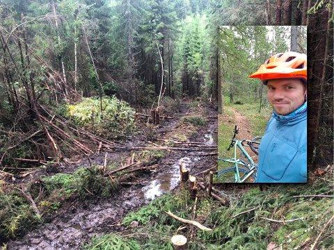 ØNSKER OPPRYDNING: Stener Johansen er stisyklist og småbarnsfar. Han lurer på hvordan man skal få ryddet opp i stygge hogstområder i marka, og hvorfor det må hugges så nære bebygde områder.