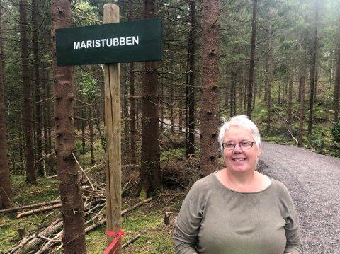 MARISTUBBEN: Den nye turtraseen mellom Jensrudveien og Waage dam har fått navnet Maristubben etter grunneier Mari Østbye. Hun synes det er hyggelig at Skiforeningen vier denne oppmerksomheten til grunneiere som gir tillatelse til tiltak i marka som skal komme turfolk til gode.