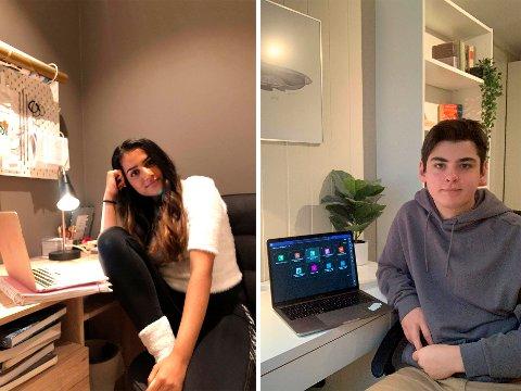 HJEMMESKOLE: Michelle Sahota og Alexander Skinnarland synes det er vanskelig å skille skole og fritid når alt foregår hjemme på rommet.