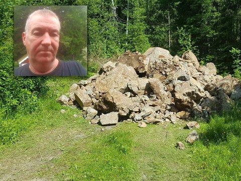 OVERRASKET: Inge Sundbakken fra Kjul fikk seg en overraskelse da han fredag oppdaget slike steinlass dumpet på sier i nærområdet.