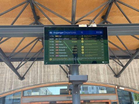STANS: Innstilte tog over hele linja på Lillestrøm stasjon mandag formiddag.
