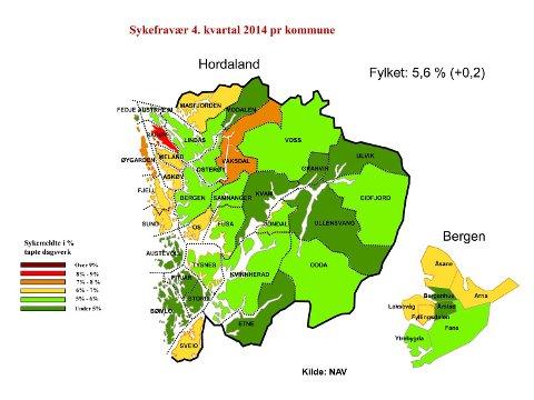 Slik ser kartet over sykefraværet ut i 4. kvartal i 2014 i Hordaland. ILLUSTRASJON: NAV