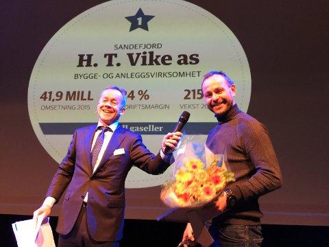 FJORÅRETS VINNER: H.T. Vike AS i Sandefjord ble årets gassellevinner i Vestfold i 2016. Hans Tormod Vikes virksomhet har hatt en eventyrlig vekst siden starten i 2012. - Jeg skulle gjerne hatt mer fritid, sa han da DN's Amund Djuve ga ham prisen for ett år siden.