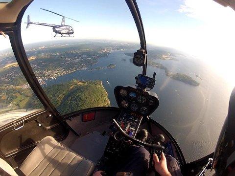 Bilde fra en trening med elever på helikopterskolen.