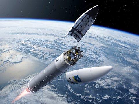 HORTEN IN SPACE: Kongsberg Norspace har leverte en rekke kommunikasjonsenheter til Galileo-satellittene. Her er en illustrasjon som viser raketten i det den er klar for å slippe ut satellittene.