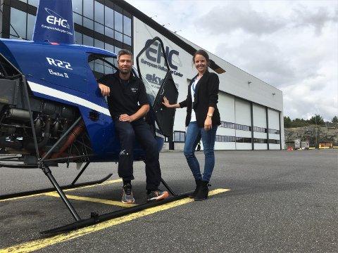 LEDERDUO: Peter Blom er skolesjef ved European Helicopter Center, mens Anette K. Haldorsen nettopp har tiltrådt som daglig leder.