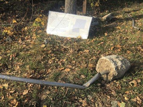 ANDERSBONN: Slik ser skiltet som en gang ble satt opp for å informere om gruveplanene ut for dagens turgåere ved Andersbonn i Vestre Kodal.