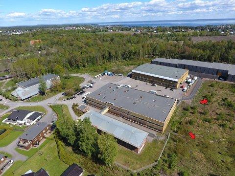 TOMTENE: De to røde pilene viser Narverødveien 40 d og e, som har ligget ute for salg i sommer. Området ligger i nærheten av Søndre Slagen kirke (til venstre). Bak Andreas Bjarøys bodhotell, som nylig ble bygget.