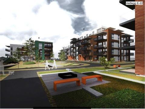 FIKK IKKE MEDHOLD: Utbygger Brekkeveien AS fikk ikke invilhget sinn søklnad om disiepsasjon for å bygge mindre uteareal per bolig på Maxbo-tomta.