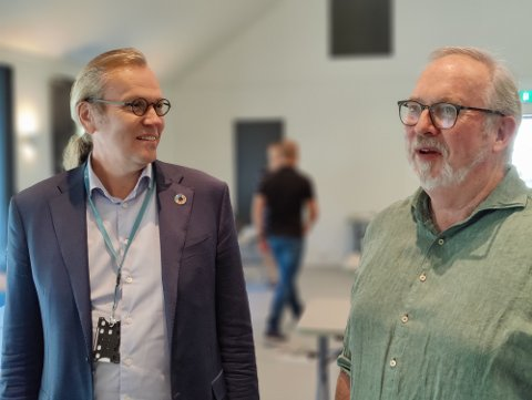 Direktør for planlegging og drift i Nye Veier, Finn Aasmund Hobbesland og ordfører i Risør og styreleder i plansamarbeidet Per Kr. Lunden.