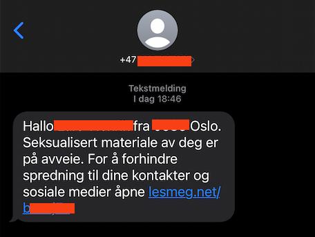 PORNOUTPRESSING: Har du fått en slik SMS? Da er du en av mange nordmenn som har blitt utsatt for seksuell utpressing på internett i helgen.