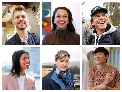 Bjørnar Moxnes (R), Kamzy Gunaratnam (Ap), Jan Bøhler (Sp), Lan Marie Nguyen Berg (MDG), Christian Tybring-Gjedde (FrP) og Ine Eriksen Søreide (H) ligger godt an til å få plass på Oslo-benken på Stortinget etter valget 13. september. Jonas Gahr Støre er førstekandidat for Ap, men ligger an til å bli statsminister dersom det blir rødgrønn regjering.