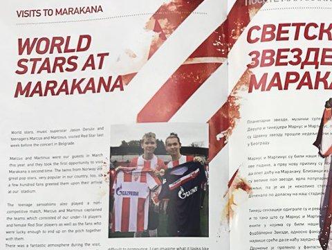 Marcus og Martinus fra Trofors fikk spalteplass i kampprogrammet forut for kampen mellom Røde Stjerne og Liverpool i Beograd.