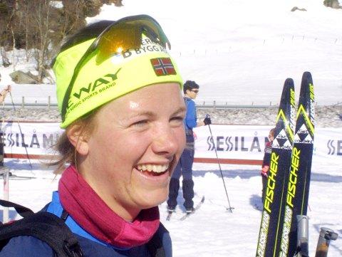 GLADJENTE: En blid Tone Sundvor fra Bjerkreim puster ut etter nok en gang å ha tatt seieren  hjem i dameklassen etter et glitrende rekordløp i utklassingsstil.