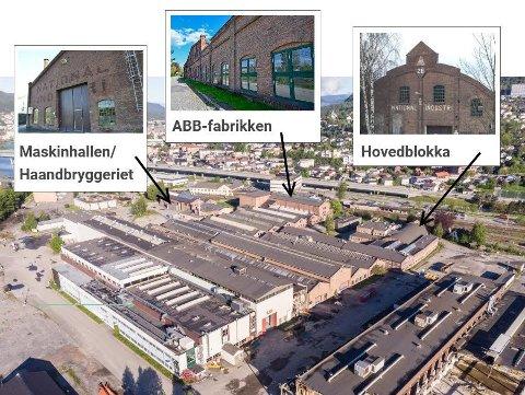 OVERSIKT: De tre verneverdige bygningene ligger helt i ytterkant av sykehustomta, mot jernbanen.