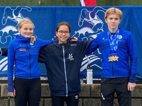 FRÅ VENSTRE: Frida Husefest Nygård, Elvie May Buanes og Erlend Grytten Sunnarvik kunne stolt reise heim til Florø etter å ha levert sterke prestasjonar i kretskampen i Måndalen.