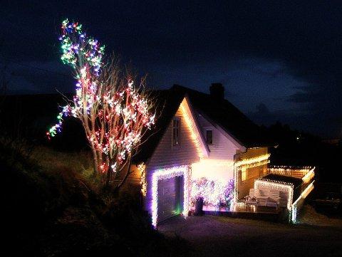 MYKJE ARBEID: Ein heil dag frå tidleg morgon til seint om kvelden må til for å få alle julelysa på plass.