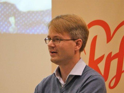 Støttet Hareide på fylkesårsmøtet: Frode Granerud fra Hvaler hadde et sterkt ønske om at KrF skulle følge Hareides regjeringsløsning. Nå melder 39-åringen seg ut av partiet. (Arkivfoto: Øivind Lågbu)