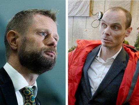 IKKE ENIG: Toralf Heimdal (til høyre) mener vaksineringen i Norge går for sakte, og ønsker russisk Sputnik-vaksine. Helse- og omsorgsminister Bent Høie er ikke enig.