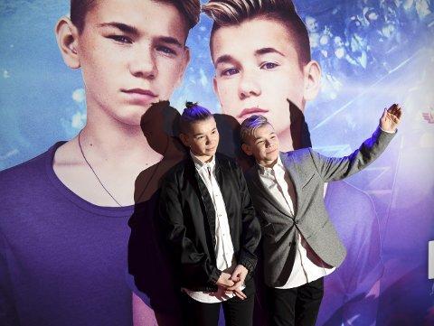 """Marcus & Martinus poserer før Sverige-premieren på dokumentarfilmen """"Marcus & Martinus – sammen om drømmen"""", på kinoen Rigoletto i Stockholm. Foto: Henrik Montgomery /TT / NTB scanpix"""