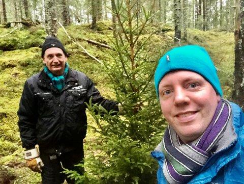 Ordfører Gudbrand Kvaal og sønnen Torkel Nybakk Kvaal har blinket ut årets juletre.