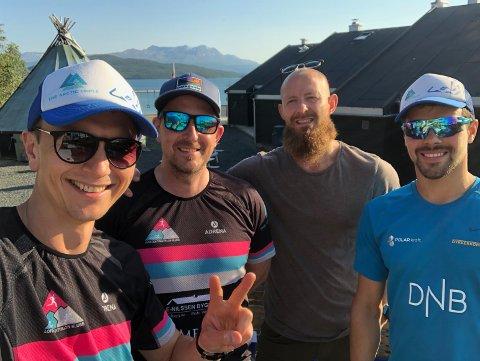 TRIATLON: Disse fire sprekingene deltok på Sans Senja triatlon i helga. (Fra venstre: Anders Løvik, Paul Klausen, Sten-Robin Morfjord, Kjell-Egil Krane Ingebrigtsen)