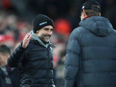 Pep Guardiola og Manchester City er store favoritter i søndagens bortekamp mot Arsenal. (AP Photo/Jon Super)