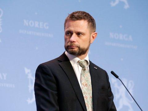 OSLO 20210312.  Helse- og omsorgsminister Bent Høie under pressekonferanse om koronasituasjonen i forbindelse med påskeferie Foto: Berit Roald / NTB