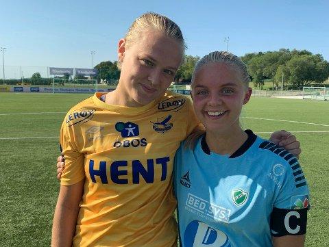 GJENFORENES?: Celine Nergård (til høyre) er sterkt ønsket av Rosenborgs helt ferske elitelag for kvinner. Da vil hun gjenforenes med Elin Sørum (til venstre). Her er venninnene samlet etter cupkampen mellom Trondheims/Ørn og Fløya i fjor.